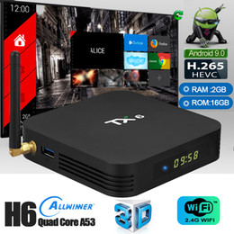 Wholesale Android Smart Tv Australia - TX6 Android 9.0 TV Box Allwinner H6 Quad Core 2GB Ram 16G Rom WiFi 2.4G Bluetooth 5.0 Smart TV BOX
