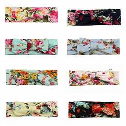 toddler hair wraps NZ - Headband For Baby Toddler Girls Floral Print Knot Cross Head Wrap Hair Bands Photo Props Hairband