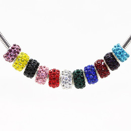 $enCountryForm.capitalKeyWord Australia - 100pcs lot lowest price 10mm*8mm mixed multi color ball Crystal Shamballa Bead Fit for pandora bracelet Necklace