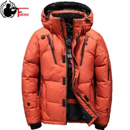 Wholesale green anorak jacket for sale – warmest winter Windbreaker White Duck Thick Down Winter Jacket Men Hat Warm Coat Snow Anorak Parkas Male Hooded Zip Up Jacket Outerwear