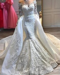 Lace mermaid taiL wedding dresses online shopping - 2019 Stunning Sheer Neck Lace Mermaid Wedding Dress Long Sleeve Wedding Bridal Gown Lace Applique Detachable Tail Wedding Gowns
