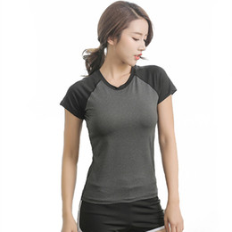 color block sweatshirt Canada - Womens Sports Yoga Shirts Compression Tops Workout Fitness Running Sweatshirt Color Block Elastic Tights Round Neck Short Sleeve Sport Shirt