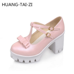 cos shoes 2019 - New Japanese sweet Lolita bow Women Pumps 8cm Thick Heel Mary Janes shoes COS student girl shoes tide med heels Plus Siz