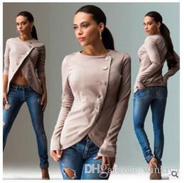 oblique jacket fashion 2019 - 2017 Spring Autumn Lady Working Casual Blazer Fashion Oblique Button Long Sleeve Slim Jacket Solid Plus Size Suit Coats