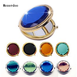 Pocket Mirrors For Wholesale Australia - 1Pc Luxury Crystal Makeup Mirror Portable Round Folded Compact Mirrors Gold Silver Pocket Mirror Making Up for Personalized Gift