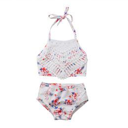 $enCountryForm.capitalKeyWord Australia - 2pcs Kids Girls Lace Bikini Set Summer Toddler Baby Girl Swimwear Children's Floral Bathing Suit Bikini Outfits Swimsuit Sets