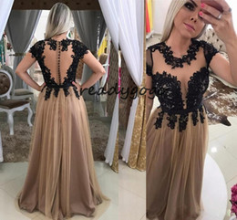 $enCountryForm.capitalKeyWord Australia - Champagne Tulle Black Appliques Prom Dresses O Neck Short Sleeve Draped Party Dress Floor Length Illusion Back Evening Gowns