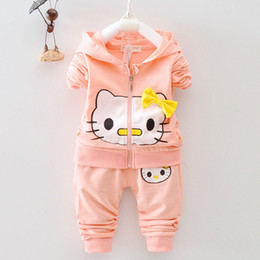 Cute Outfits For Spring Australia - Spring Autumn Girls Clothing Sets Kids Girls Cartoon Cat Hoodies Clothes Sport Suit For Baby Girls Tracksuit Children Outfits
