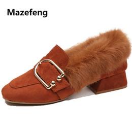 $enCountryForm.capitalKeyWord NZ - Dress Shoes Mazefeng 2019 New Fashion Winter Women High-heeled Women Casual Pumps Plush British Style Ladies Square Toe Slip-on