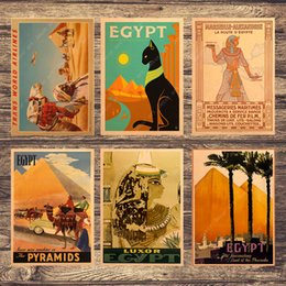 $enCountryForm.capitalKeyWord Australia - Retro Travel to Africa Egypt Canvas Painting Vintage Wall Pictures Kraft Posters Coated Wall Stickers Home Decoration Gift