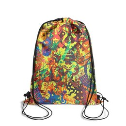 stone art landscaping Australia - Drawstring Sports Backpack Trippy Psychedelic Art Cool Durable Pull String Travel Fabric Backpack