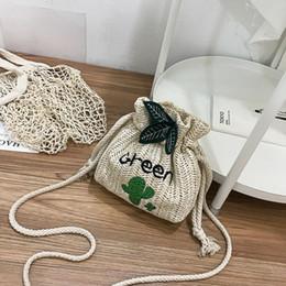 Wholesale Straw Ladies Handbags Australia - Women Drawstring Rattan Wicker Straw Bag Fashion Ladies Summer Handbag Beach Mini Bucket Messenger Crossbody Bags