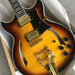 Freies Schiff Sunset Glow Tiger Flame ES Klassische Johnny Eine Unterschrift Hohlkörper E-Gitarre China Benutzerdefinierte Verfügbar e-gitarren guitarra im Angebot