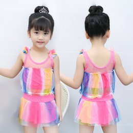 swimwear bathing suit american Canada - Girls Two Pieces Suits For Swimming Children Swimwear Kids Bathing Suit Swim Wear Big Girl Swimsuits baby pige badedragt