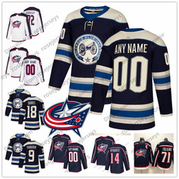 kids navy jacket NZ - Custom Columbus Blue Jackets 2019 Navy Third Jersey Any Number Name men women youth kid White 14 Gustav Nyquist Atkinson Dubois Texier Nash