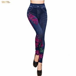 Leggings pants jeans coLor online shopping - Slim Fashion Spring Summer Leggings Faux Denim Jeans Leggings Long Floral Fleece Casual Pencil Pants Thin Printing Inside