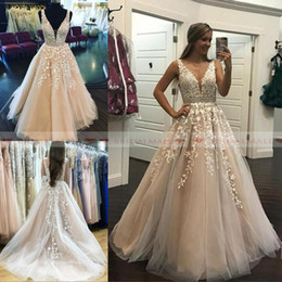 Custom elegant pageant sashes online shopping - 2019 Elegant V Neck Appliques Tulle Long Prom Dresses With Crystals Sash Formal Party Gowns Low Back Evening Dress Pageant Celebrity Gowns