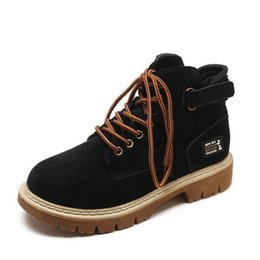 $enCountryForm.capitalKeyWord NZ - Nice Autumn Pop Round Head Womens Boots Korean Suede Couple Flat Front Lace-up Womens Boots Black 1006