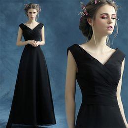 $enCountryForm.capitalKeyWord NZ - Simple Cheap V-neck Robe De Soiree Long Evening Dresses Full Length Black Vestido De Festa Pleats Cheap Evening Gowns Formal Dresses
