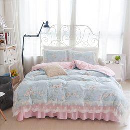 Queen Size Princess Bedding Australia - 100%Cotton Lace edge Kids Girls King Queen Twin size Bed skirt set Bedding Princess Duvet Quilt cover Pillow shams