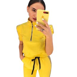 8a4ed6559e54d Women Long Pants Tracksuit FF Letter Print Summer Short Sleeve Outfit  Sidestripe Zipper Crop Tops T-shirt+Tights Leggings 2Piece Jogging Set