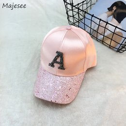 baseball bling hat wholesale Canada - Baseball Caps Women Bling Shiny Letter Patchwork Hat Womens Cap Trendy Korean Style Adjustable Leisure All-match Hip Hop Outdoor