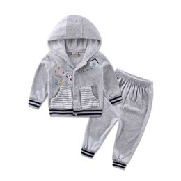 Wholesale short sleeve velour hoodie for sale – designer Sports velour Hoodie Suits Long Sleeve Baby Boys Clothing Sets set Jacket Pants Girls Clothes Autumn Outfits T200114