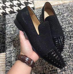 $enCountryForm.capitalKeyWord Australia - Gentleman Party Wedding -- Slip On Black Glitter Leather Red Bottom Gentleman Spikes Toe Spikes Slip On Cheap Loafers Shoes