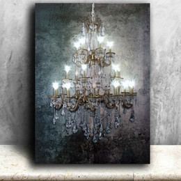 led canvas prints NZ - Led wall picture dividing vertical elements polychrome gold crystalline canvas art light up painting artwork printed framed T200118