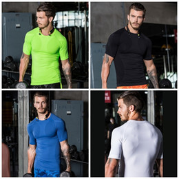 6658e30a1 Ripped tights shoRts online shopping - Tight Fitting Man Motion Short  Sleeve Shape Elastic Force Shaping