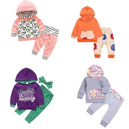 hooded headband Australia - Kids Printed Hooded Suit Girls Christmas Deer Hooded Suit Kids Designer Clothes Girls Mermaid Pants Headband Toddler Baby Casual Outfits 06