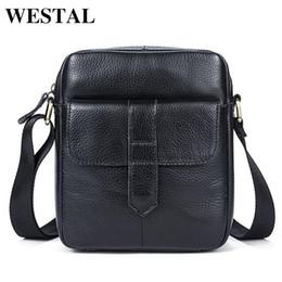 $enCountryForm.capitalKeyWord NZ - Westal Genuine Leather Messenger Bags Men Bag Crossbody Bags Fashion Flap Cow Leather Small Zipper Mens Black Shoulder Bag 7717