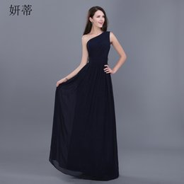 $enCountryForm.capitalKeyWord Australia - Simple Elegant Pleat Chiffon Evening Party Dress One Shoulder Sleeveless Semi Formal Dress Prom Gown with High Waist Belt Black