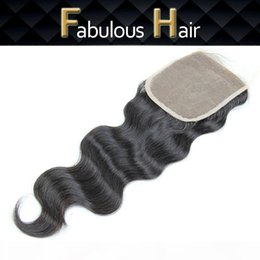 "middle part closure piece Canada - Cheap Lace Closure Virgin Brazilian Body Wave 5x5"" Human Hair Free Part Top Lace Closure Pieces with Bleached Knots 8-20inch Hair Closu"