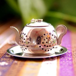 Chinese  Stainless Steel Round Pot Tea Infuser Silvery Teapot Shape Home Restaurant Creative Eco Friendly Popular Teas Strainer 5xzD1 manufacturers