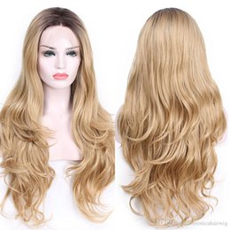 synthetic fiber lace wigs UK - Free Shipping 26inch Dark Roots Full Blonde Ombre Body Wave Wigs Hair Glueless Synthetic Lace Front Wig For Women Heat Resistant Fiber