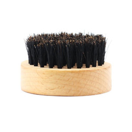 $enCountryForm.capitalKeyWord Australia - MOQ 50pcs OEM Wood Beard Brush Customized LOGO Laser Engraved Round Wooden Beard Brush with Boar Bristle Hair Men Grooming Whiskers LX7686