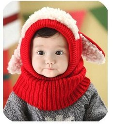 crochet baby puppy hats UK - Children's knitted hat Korean tide baby wool cap three-dimensional puppy conjoined hat autumn and winter infant cap