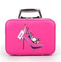 making light box Australia - Professional Makeup Bag With High Heel Pattern Portable Cartoon Make up Case Leather Beauty Case Trunk Hand Held Coametic Bag