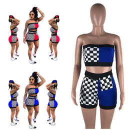 $enCountryForm.capitalKeyWord NZ - Fashion Women Shorts Tracksuit Patchwork Strapless Vest Crop Tube Top + Shorts 2 Piece Set Summer Bra Outfits Street Suit Clothes With Belt
