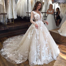 Lace Dress Applique Details Australia - long sleeve princess wedding dresses 2019 See Through lace applique puffy skirt Cheap Wedding Gowns Sweep Train Vestidos