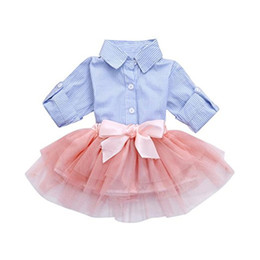 $enCountryForm.capitalKeyWord Australia - Infant Baby Girl Clothes Princess Skirt Striped Long Sleeve Shirt + Pink Mesh Skirt Tutu Lace Dress Outfit Set