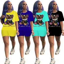 Wholesale rhinestone jogging suits for sale – designer Women Cartoon Tracksuit Summer Piece Set Short Sleeve T Shirt Shorts Solid Color Sports Suit Letter Outfits Rhinestone Jogging Suit
