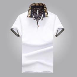 Venta al por mayor de Camisa de ventas caliente de lujo diseño de lujo verano cuello de turno de manga corta camisa de algodón hombres Top WY115