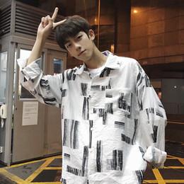 $enCountryForm.capitalKeyWord Australia - 2019 Korea Style Geometric Printed Casual Oversized Fit Long Sleeve Men Boy Shirts