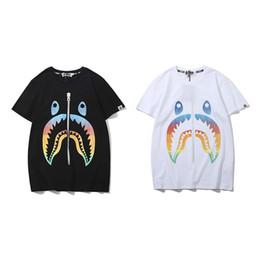 3c26d960f66 BAPE Mens T Shirt Fashion New men women Designer Summer Shark Short Sleeves  Black White High Quality Cotton short Tees