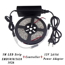single color light controller Canada - 5M 3528 5050 5630 LED Strip Waterproof Flexible Light 60leds m + 11 Keys Single Color Controller + 12V 2A 5A Power Supply Adapter