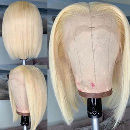 blonde lace front wigs bob Australia - 13*6 Blonde Bob Lace Frontal Short Human Hair Wigs With Baby Hair Ombre Peruvian Glueless Lace Front Wigs For Black Women T1b 613