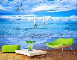 beach wallpaper for home Australia - WDBH custom photo 3d wallpaper Beach sailing seagull seascape background living Room home decor 3d wall mural wallpaper for walls 3 d