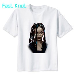 rihanna clothes 2019 - Rihanna T-shirt men summer t-shirt boy print tshirt anime t shirt brand clothing white color tops tees MMR584 cheap riha